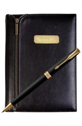 Подарочный набор VIP Ежедневник и ручка Parker Sonnet Matte Black GT
