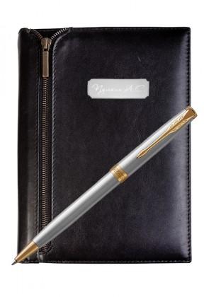 Подарочный набор VIP Ежедневник и ручка Parker Sonnet Stainless Steel GT