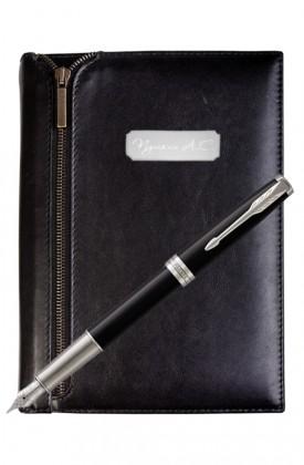 Подарочный набор VIP Ежедневник и ручка Parker Sonnet Laque Black CT